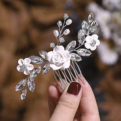 Edary Braut Blume Hochzeit Haarkämme Silber Braut Kopfschmuck Perle Haarclips Strass Haarschmuck für Frauen und Mädchen
