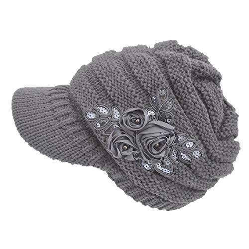 Tuopuda Crochet Invierno Beanie Gorro de Punto Caliente Cozy Mujeres Grande Sombrero Floral Visor Moda Diseño de Lana Tejer Warm Caps (Gris)