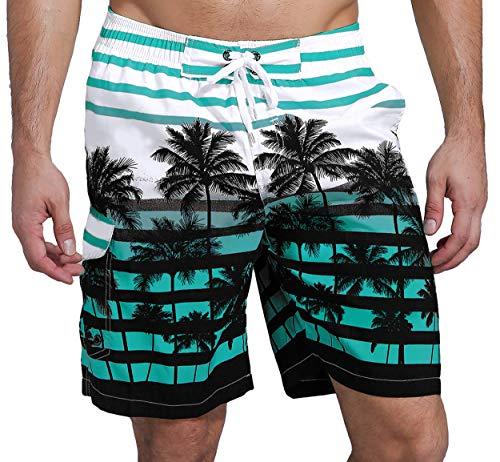 SHEKINI Herren Sommer Badeshorts Hawaii Kokospalme Blumenmuster Badehose mit 3 Taschen Innenslip Schnelltrocknend Strandshorts (32, Himmelblau)