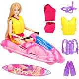 BARWA Doll Clothes Accessories Water Boat Motorboat Ocean View Boat Playset, Underwater Adventurer 4 Diving Swimming Sets, 1 Swimsuits, 1 Skateboard for 11.5 inch Girl Doll