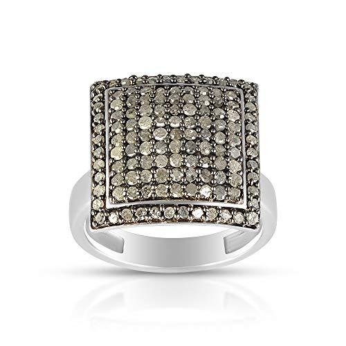 Black diamond ring, large ring, black 925 Silver ring for women, Pave diamond ring, rings for women, gift, Cassia (Yellow Gold, L 1/2)
