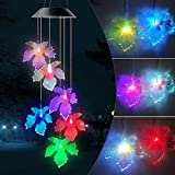 JOBOSI Maple Leaves Wind Chimes, Solar Wind Chimes, Lights, Garden Decor, Garden Gifts, Gifts for mom, Gifts for Family Grandma