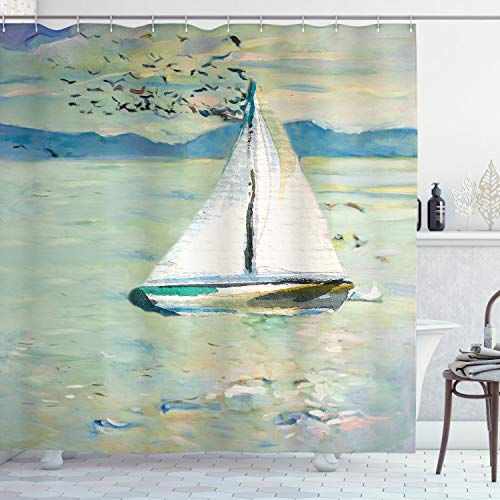 """Ambesonne Art Shower Curtain, Monet Sailing Boat Yacht Birds Watercolor Brushstroke Composition, Cloth Fabric Bathroom Decor Set with Hooks, 70"""" Long, Blue Teal White"""