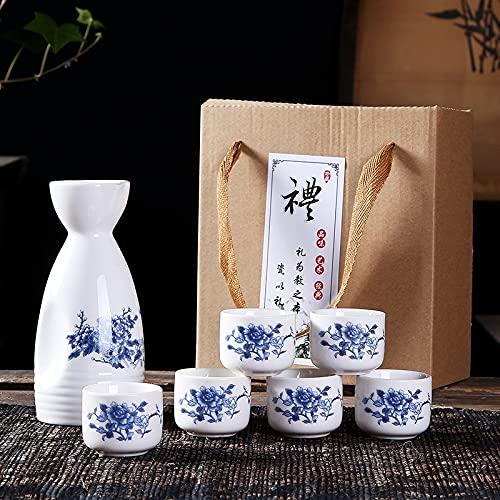 Set de Sake japonés, 7 Piezas de Sake de 7 Piezas diseño Pintado a Mano de diseño de Porcelana cerámica Tradicional Tazas de cerámica artesanía Caja de Regalo de Copas de Vino (Color : 3)