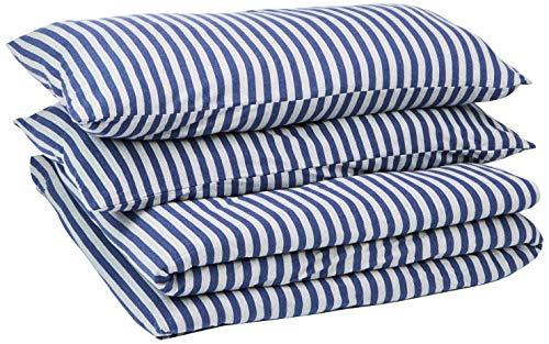 AmazonBasics - Juego de funda nórdica para edredón, diseño de rayas, 260 x 220 cm / 50 x 80 cm, Azul Marino