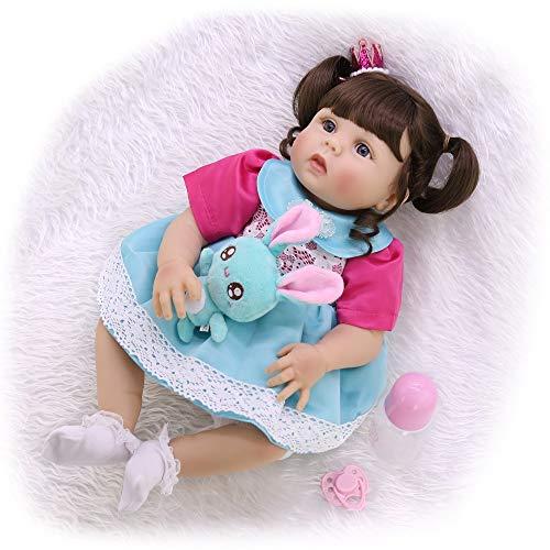 """ASDAD Reborn Baby Toddler Girl Princess Doll 23""""57Cm Bebes Reborn Corpo De Silicone Inteiro Realista Toy Dolls Regalo para Niños,Girl Blue Eyes"""