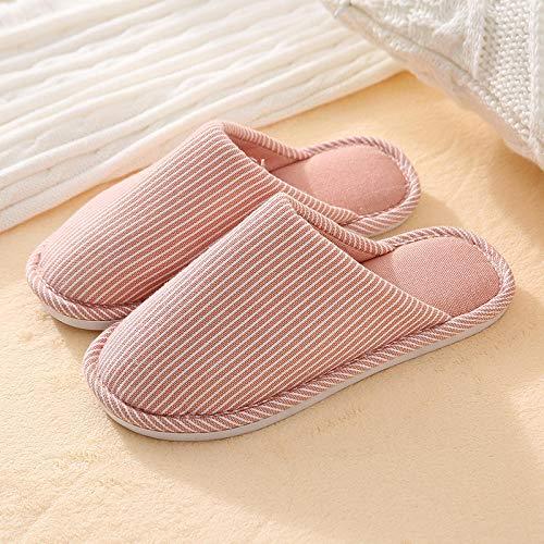 B/H Pantuflas Ultraligero cómodo y Antideslizante,Zapatillas de algodón cálidas Informales a Rayas,Zapatillas de Moda agradables a la Piel-Pink_40-41,Zapatillas de casa de algodón orgánico