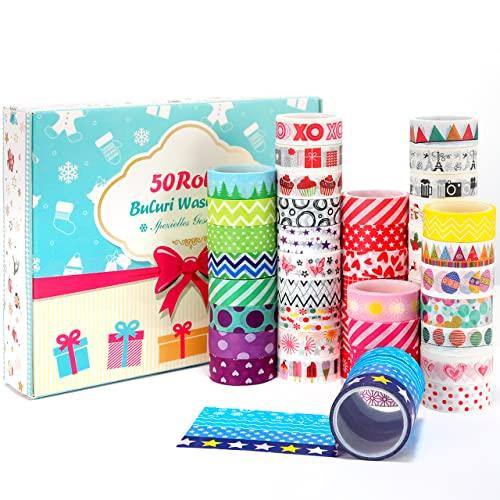 Washi Tape, Buluri 50 Rouleaux Washi Masking Tape Adhésif Ruban Adhésif pour Scrapbooking Artisanat de Bricolage (Washi Tapes)