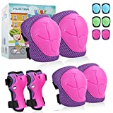 Knee Pads Elbow Pads Kids,6 in 1 Protective Gear Set with Wrist Guard for Cycling Skateboard Roller Skating Scooter Bike BMX Ski Sports Boys Girls