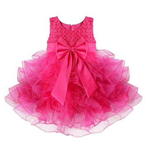 YiZYiF Baby Mädchen Kleid mit Schleife Bowknot Taufkleid Blumenmädchenkleider Hochzeit festlich Kleid Party Kleinkind Gr. 68-104 (98, Rose)