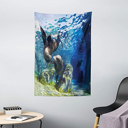 Tapestries Wall Tapestry Sea Animals Tapestry Playful California Sea Lions Swimming in Clear Water Undersea World Theme Wall Hanging Wall Blanket Tapestry Bedspread 80 * 60inch