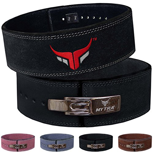 Mytra Fusion Leather Weight Lifting Power Lifting Back Support Belt Weight Lifting Belt Men Weight Lifting Belt Women Weightlifting Belt (Medium, Black)