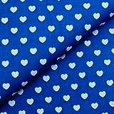 0,5m Stoff Herzen royalblau-weiß (mittelblau) Baumwolle