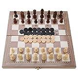 Garosa Juego de ajedrez de Madera, Juegos de ajedrez y ajedrez 3 en 1 y Juego de Tablero de ajedrez Plegable de Backgammon, Juguete portátil de Mesa de Viaje