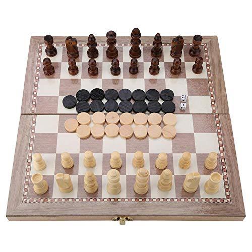 Juego de ajedrez Plegable, Madera 3 en 1 Ajedrez y Damas y Tablero Plegable de Backgammon Juguete portátil de Mesa de Viaje