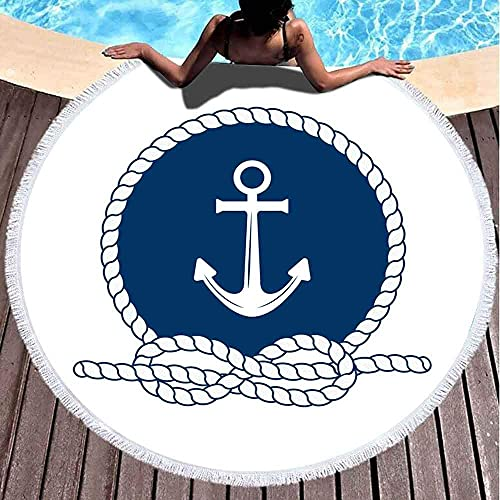 Toallas de playa de gran tamaño, toalla de playa libre de arena, toalla de playa grande, insignia náutica, ancla de marco redondo, cuerda blanca y azul oscuro