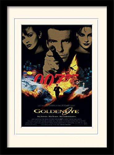1art1 James Bond 007 - GoldenEye One-Sheet Gerahmtes Bild Mit Edlem Passepartout | Wand-Bilder | Kunstdruck Poster Im Bilderrahmen 40 x 30 cm