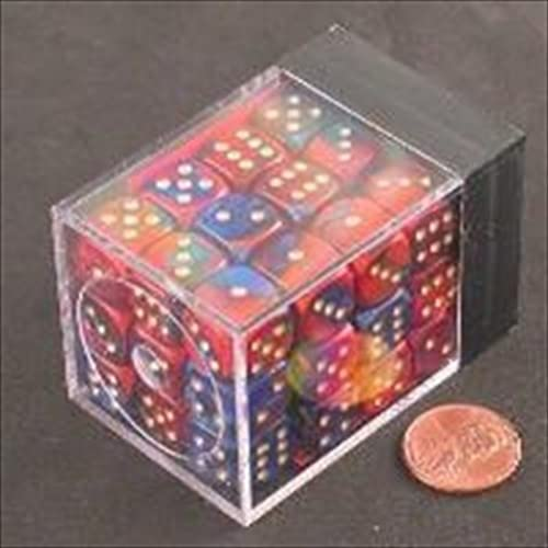 Chessex Manufacturing 26829 D6 Cube Gemini Set Of 36 Dice, 12 mm - Blau & rot With Gold Numbering by Chessex Manufacturing