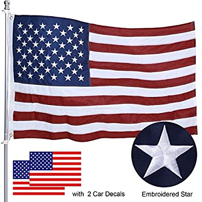 American Flag 3X5 FT Made in USA, intbag USA Flags with Embroidered Stars,Sewn Stripes Brass Grommets,Long Lasting Durable 200D Polyester US Flag for Outdoor Indoor Office, Fade Resistant,Bright Color