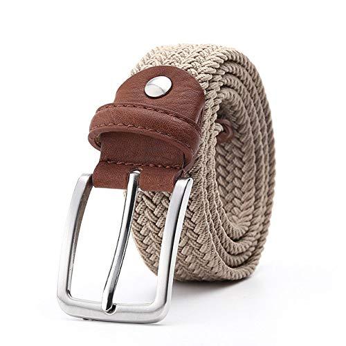 KGLOPYE Gürtel Canvasgürtel aus Leder mit Flechtgürtel für Herren und Damen, beige, 105 cm