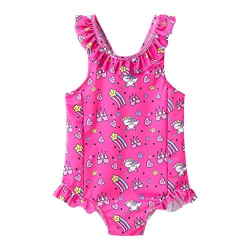 VECDY Bañador Bebe Niña, Moda Suave Bikini 2019 Niño Bebé Niños Niñas Ruffles Monokini Ropa Infantil Lunares Traje De Baño Ropa De Playa Romper Conjuntos Verano Natacion (Hot Rosa,140)