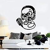 Calcomanía de pared de calavera para auriculares, música, micrófono, canto, vinilo, pegatina
