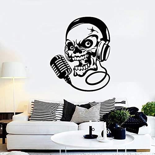 HGFDHG Calcomanía de Pared de Calavera para Auriculares, micrófono, música, Canto, Vinilo, Pegatina para Ventana, Estilo Fresco, Dormitorio, Hombre, Cueva, Mural Interior