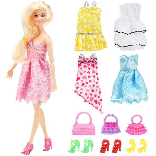 Geyiie 5 Fashion Kleider mit 4 Paar Schuhen Partymoden Kleidung Modepuppen Puppen Spielzeug Set und Puppenzubehör ab 3 Jahren 11er