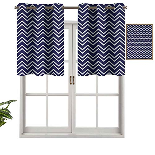 Hiiiman Grommet Top Curtain Panels Valances Navy Blue Color Background with Zig Zag Patterned Modern Design Artwork, Set of 1, 54'x18' Thermal Insulated for Living Room