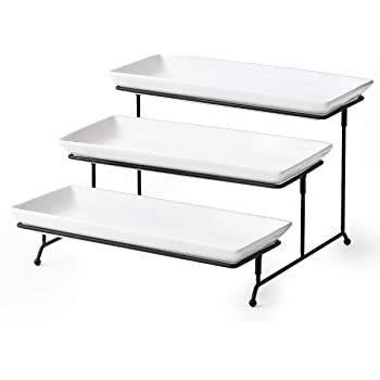 3 Tier Serving Stand Tiered Serving Stand With 3 Porcelain Serving Platters Trays For Dessert Server Display Collapsible Sturdier Metal Rack Large size 14 inch