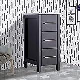 Vanity Art 12 inch Bathroom Cabinet 3 Drawer Side Storage Organizer Free Standing Single Vanity Small Nightstand Easy Assemble Bedroom/Bathroom/Entryway (Espresso) - VA3112E