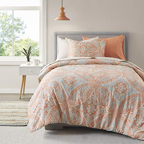 Comfort Spaces Bed in A Bag - Trendy Casual Design Cozy Comforter with Complete Sheet Set with Side Pocket, All Season Cover, Matching Shams, Twin XL(66