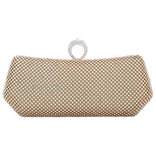 Fawziya Polygon Knuckle Ring Purse And Clutch Bags For Women Evening Bag-AB Gold