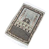 Alfombra portátil de oración musulmana, simplemente impresión, de poliéster, trenzada para viajes, suave alfombra de oración para niños 65 x 110 cm