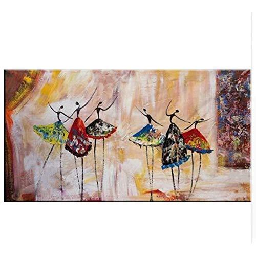 ZXMPGYH Painting Bailarines de Ballet Abstractos Grandes Que pintan la Pintura casera del Arte Cuadros Pintados a Mano Pinturas al óleo sobre Lienzo para Sala de Estar