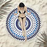 Toalla Playa Redonda Toalla De Playa Con Estampado Azul Redondo, Mandala De Playa, Mantel Gitano Bohemio, Toalla De Playa, Chal De Borla Redonda De Tapiz De Esterilla De Yoga, Alfombra De Picnic De 75