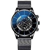 Zuionk Reloj de pulsera de cuarzo con cierre de hebilla de forma redonda de moda unisex Relojes de pulsera