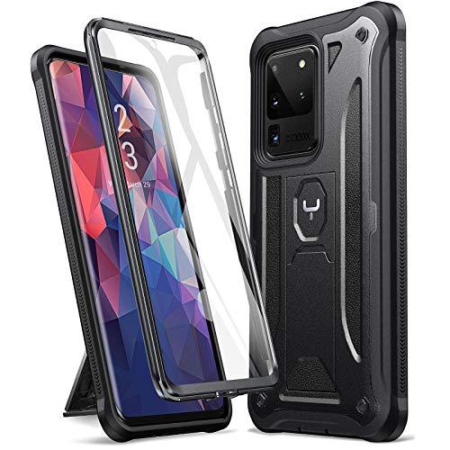 YOUMAKER Schutzhülle für Samsung Galaxy S20 Ultra, integrierter Bildschirmschutz, funktioniert mit Fingerabdruck-ID mit Ständer Ganzkörper haltbare stoßfest Hülle für Galaxy S20 Ultra 5G – schwarz