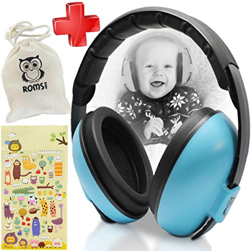 Image of Noise Cancelling Baby Ear Protection Baby Earmuffs ~ Protect Infants and Kids Hearing with Safe, Sound Proof Baby Ear Muffs ~ Comfort Fit + Bonus Travel Bag and Stickers by ROMS Baby (Blue)