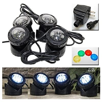 Jebao 4 LED Super Bright Outdoor Underwater Pond Fountain Spot Light Kits 4 Color Lens