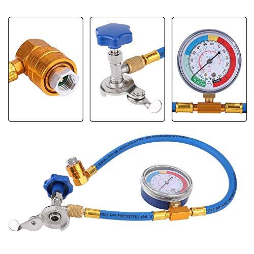 KIMISS Manguera de medición de Recarga Manómetro R134A R12 Adaptador de Manguera de medición de Recarga