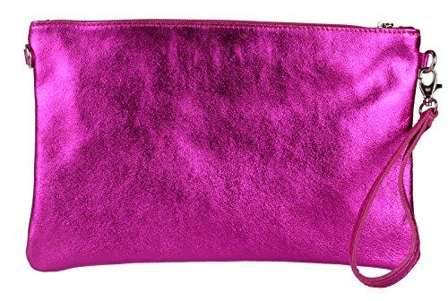 Girly HandBags - Cartera de mano de piel auténtica para mujer rosa fucsia