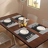 YOLOKE 6er Set Platzsets,waschbar rutschfeste Wärmedämmung gewebt Vinyl Tischsets für Küche Esstisch Tischsets 30x45cm (grau) - 7