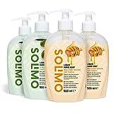 Amazon-Marke: Solimo Flüssige Handseife - 4er-Pack (2 X Milch- und Honig, 2 X...