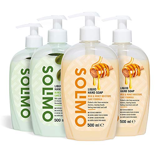 Amazon Brand - Solimo Liquid Hand Soap - Mixed Pack of 4 (2 X Milk & Honey, 2 X Olive Moisture)