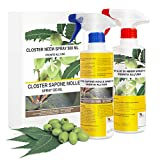 Closter set jabón potasico y aceite de neem spray 2x500ml - insecticida natural mosquitos chinches pulgones cochinilla piojos, desinfestante biodegradable ecológico (spray de 2x500 ml listo para usar)