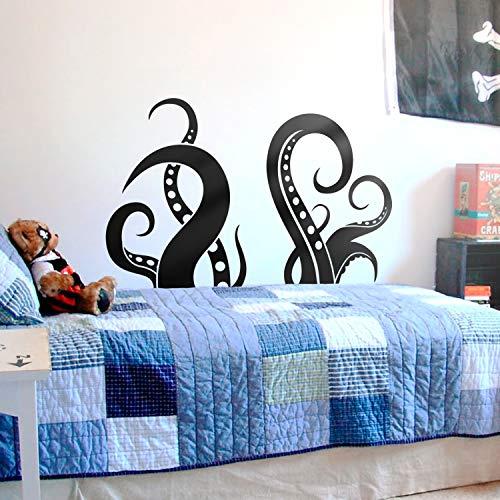 "Vinyl Wall Art Decal - Octopus Legs - 30"" x 48.5"" - Fun Cool Sea Animals Kids Teens Toddlers Home Apartment Bedroom Indoor Living Room Dorm Room Playroom Daycare Decoration (30"" x 48.5"", Black)"