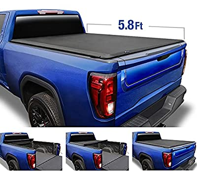 """Tyger Auto T1 Soft Roll Up Truck Bed Tonneau Cover for 2007-2013 Chevy Silverado / GMC Sierra 1500 Fleetside 5'8"""" Bed TG-BC1C9003"""