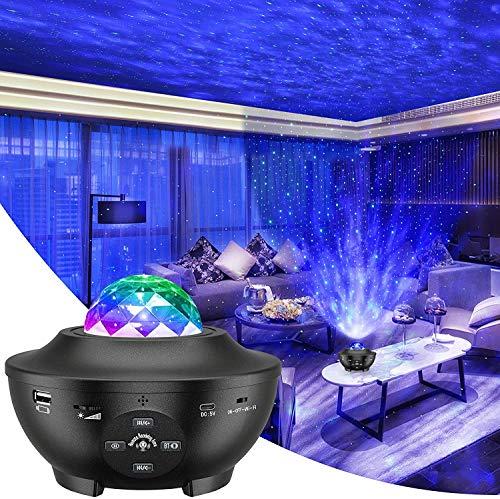 Preisvergleich Produktbild LED Projektor Sternenhimmel Lampe Kinder Nachtlicht Baby Sterne Lampe mit Fernbedienung / Bluetooth Lautsprecher und Starry Stern / Wasserwellen-Welleneffekt für Party Geburtztag