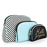 Once Upon A Rose 3 Pc Cosmetic Bag Set, Purse Size Makeup Bag for Women, Toiletry Travel Bag, Makeup Organizer, Cosmetic Bag for Girls Zippered Pouch Set, Large, Medium, Small (Hello Gorgeous Blue)